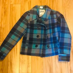 Girl's Blue Plaid Wool Peacoat SZ 14